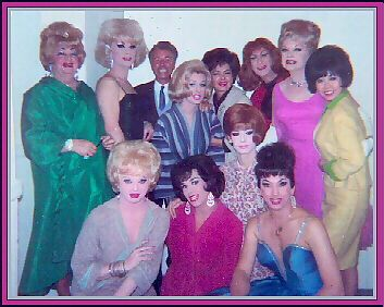 1963 BACKSTAGE, STANDING LEFT TO RIGHT: Lucian, Al St. Claire, friend of Ruth Roman, Lavern Cummings, Ruth Roman, Jackie Phillips, Harvey Lee, lady friend of Ruth Roman. 